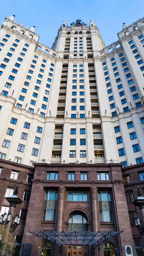Residential building on Kotelnicheskaya Embankment, one of seven Stalinist skyscrapers in Moscow. Residential building on Kotelnicheskaya Embankment, one of stock image