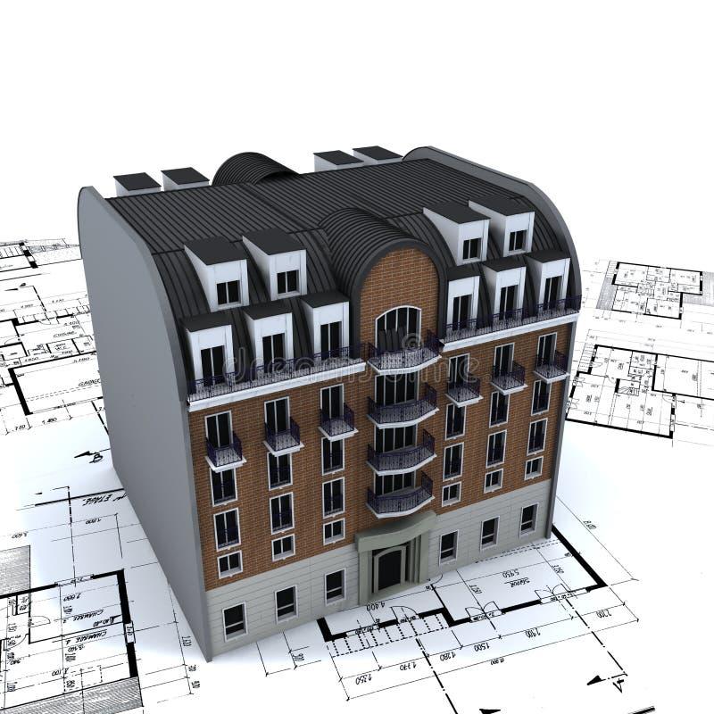 Residential Building on plans vector illustration
