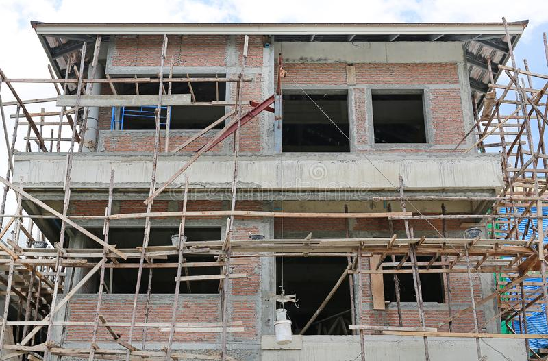 A Residential building in progress under construction stock photo