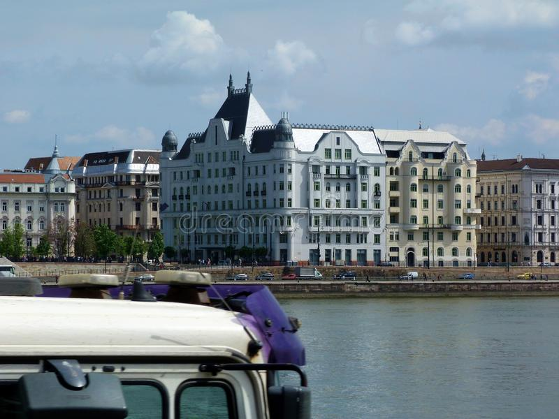 Residential building on the shores of the Danube in Budapest stock photo