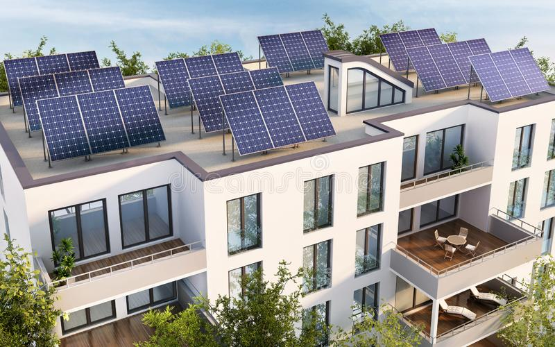 Residential building with solar panels on the roof royalty free illustration