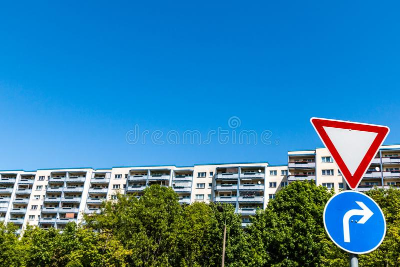 Residential building with traffic signs in Berlin Marzahn, Germany stock photo