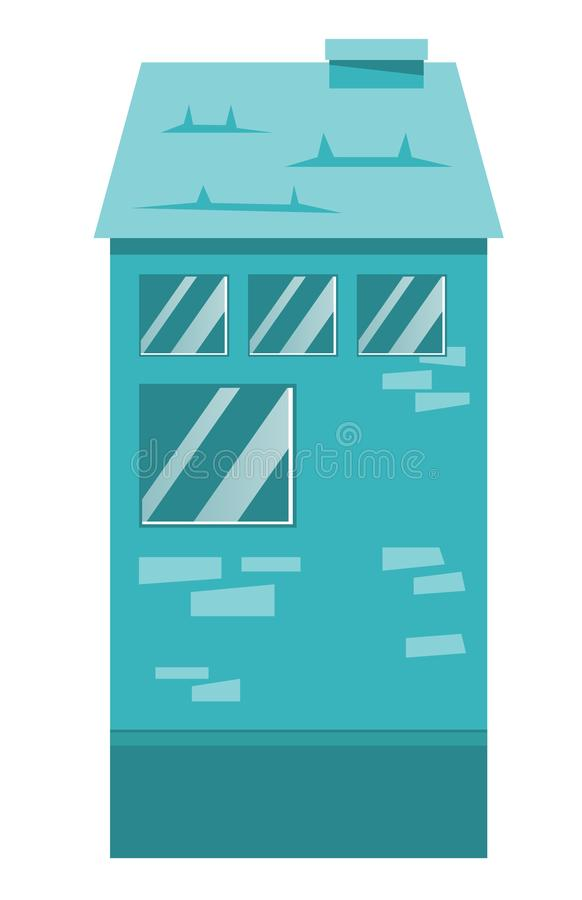 Residential building vector cartoon illustration. stock illustration