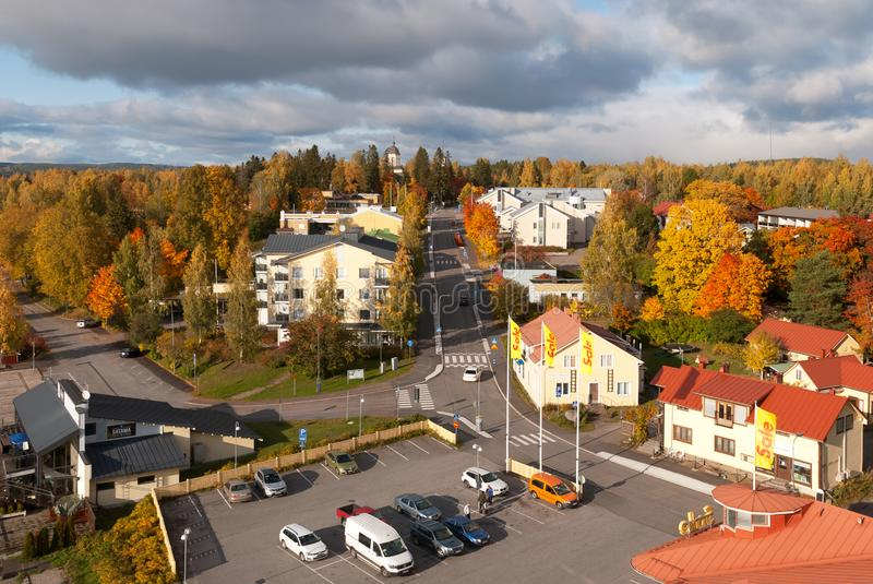 Residential buildings and church. Municipality of Puumala. Finland royalty free stock photos