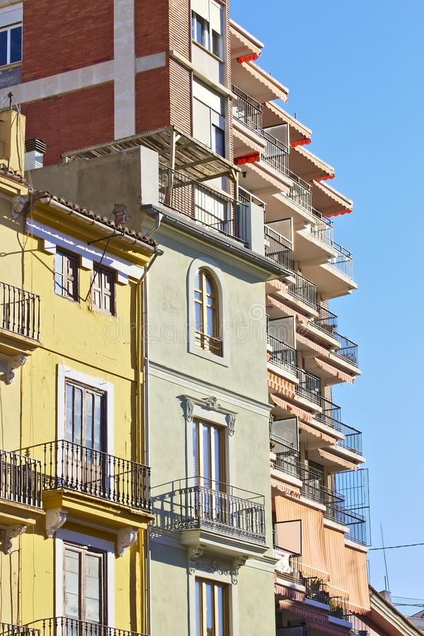 Residential buildings of different styles and colors. Residential buildings of different periods, styles and colors. Valencia. Spain royalty free stock photo