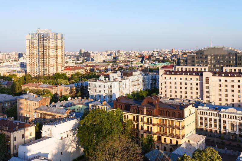 Residential buildings in Kiev in spring dawning. Travel to Ukraine - above view of residential buildings in Kiev city in spring dawning royalty free stock image