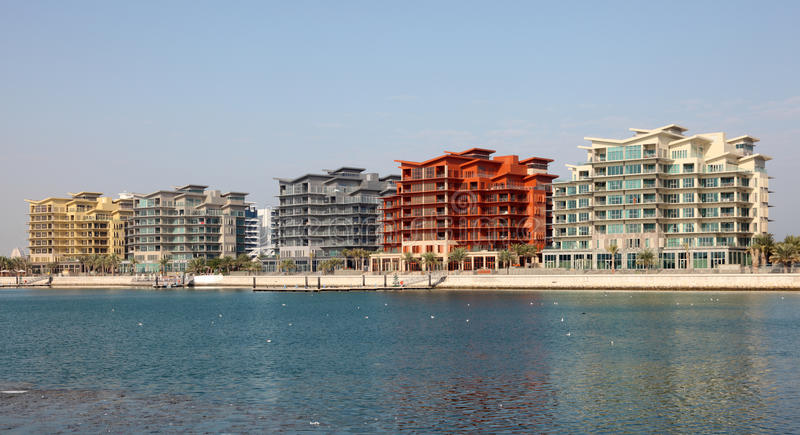 Residential buildings in Manama, Bahrain. Contemporary residential buildings at the marina of Manama, Bahrain, Middle East stock image
