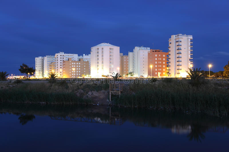 Residential buildings at night royalty free stock photography