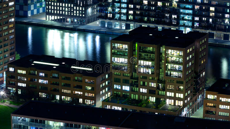 Residential buildings by night stock photography