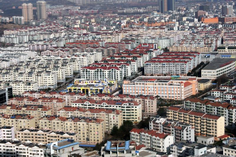 Residential buildings of Qingdao City, China stock photo