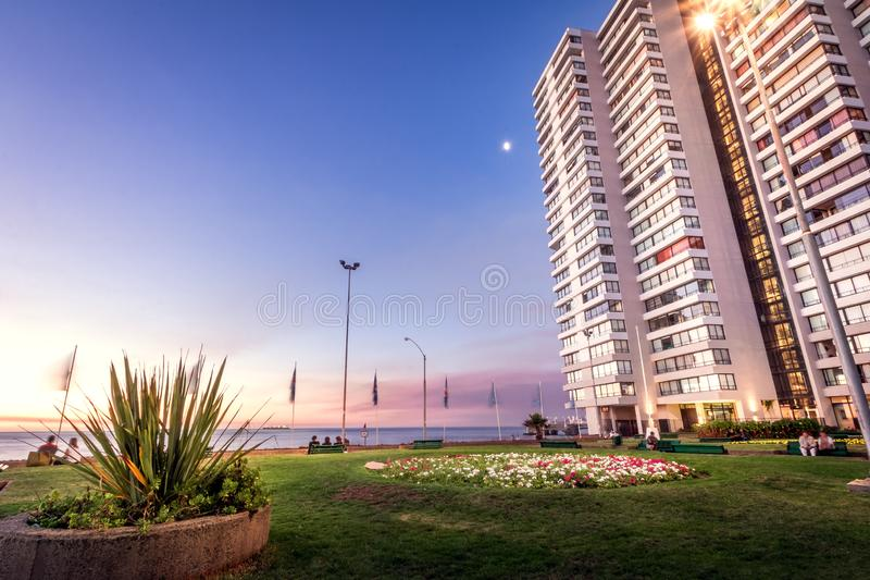 Residential Buildings at Vina Del Mar Downtown at night - Vina del Mar, Chile stock photo