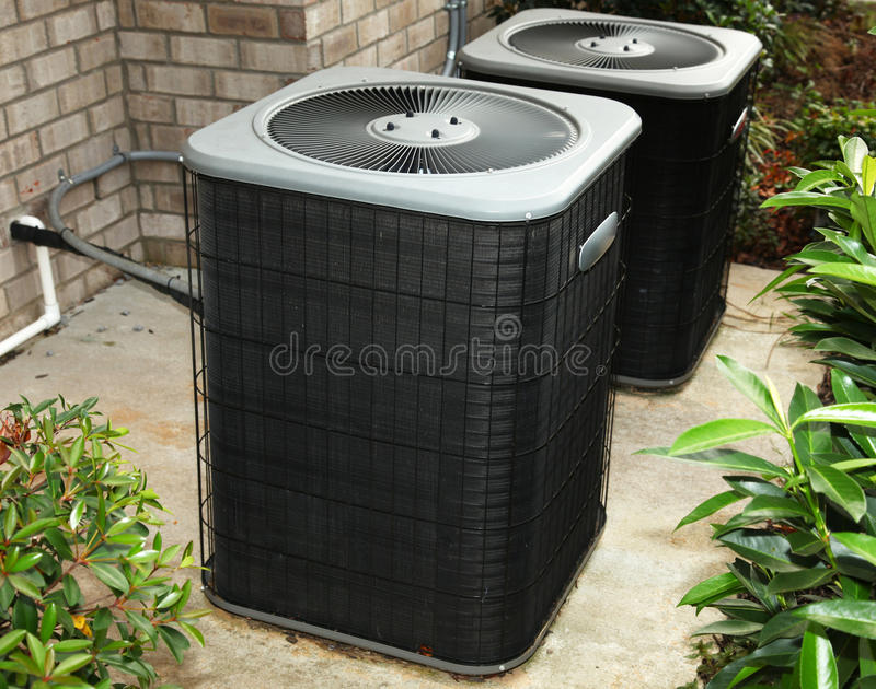 Residential Cental Air Conditioning Unit stock photos