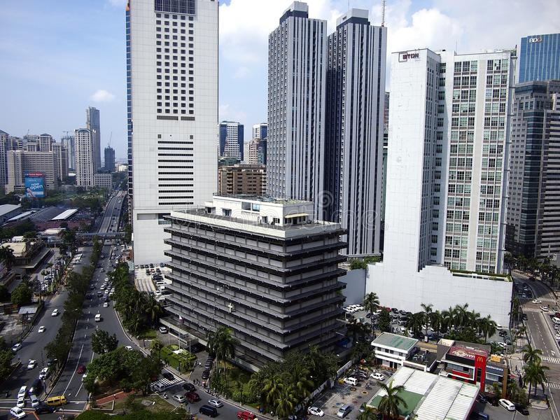 Residential and commercial buildings in Pasig City, Philippines. PASIG CITY, PHILIPPINES - JUNE 15, 2017: Residential and commercial buildings in Pasig City royalty free stock images