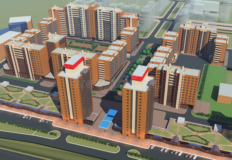 Residential complex (3d rendering) vector illustration