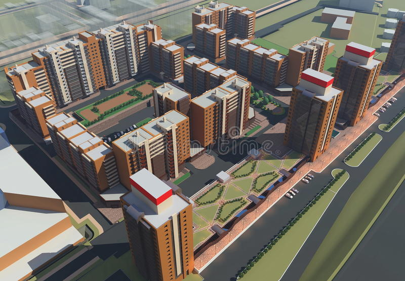 Residential complex (3d rendering) royalty free illustration