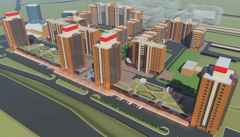 Residential complex (3d rendering) stock illustration