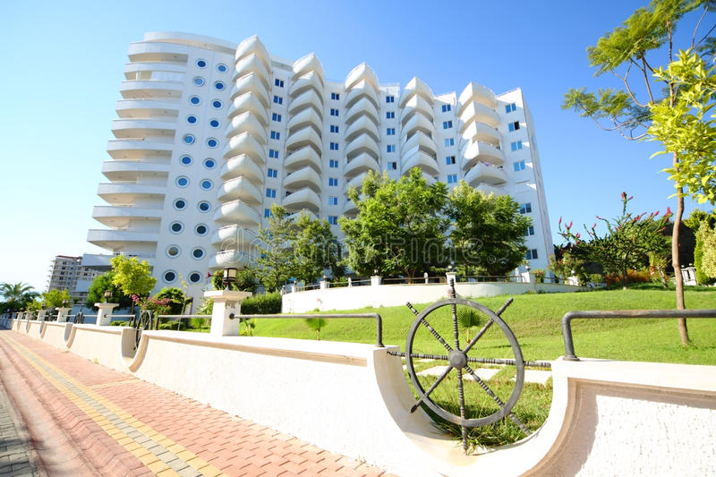 The residential complex of My Marine Residence. ALANYA - JULY 15: The residential complex of My Marine Residence, on July 15, 2012 in Alanya, Turkey. It is the stock images