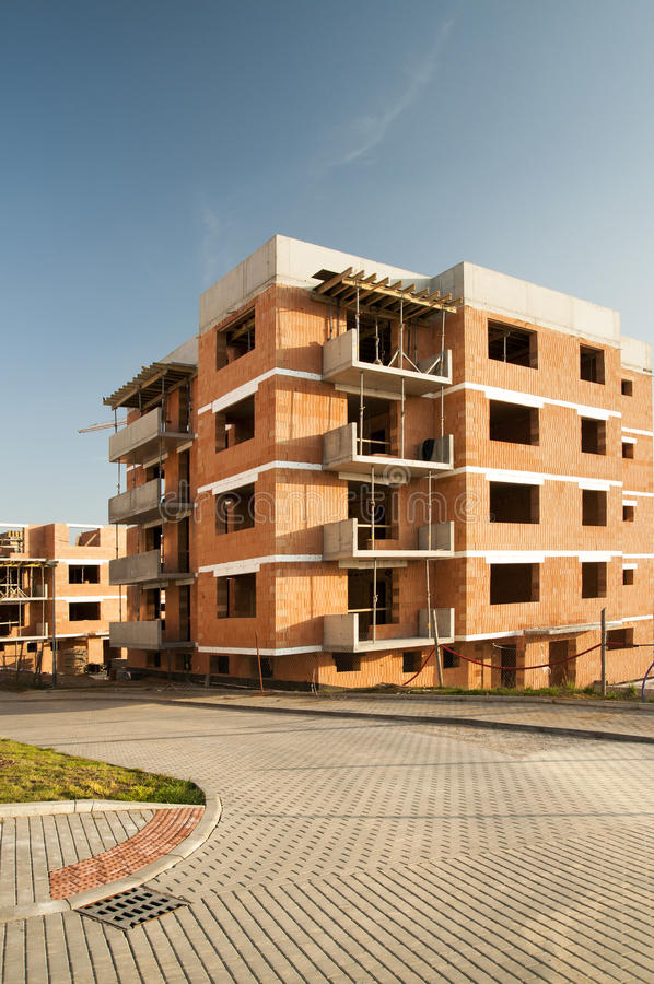 Residential construction of block of flats. In housing estate royalty free stock images