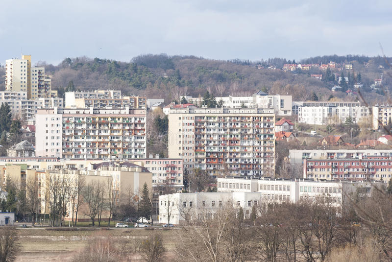 Residential district consisting of large blocks of flats. In Poland royalty free stock images