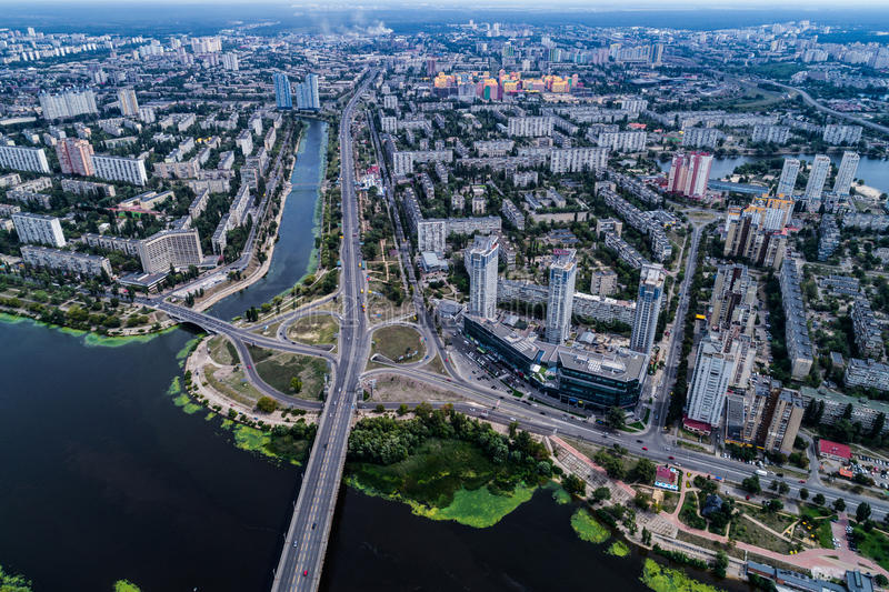 Residential district in a large metropolis with road junctions and houses. Residential district in a large metropolis with road junctions and houses near Dnepr stock images