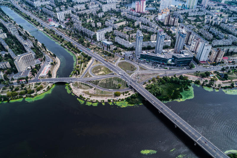 Residential district in a large metropolis with road junctions and houses. Residential district in a large metropolis with road junctions and houses near Dnepr royalty free stock photography