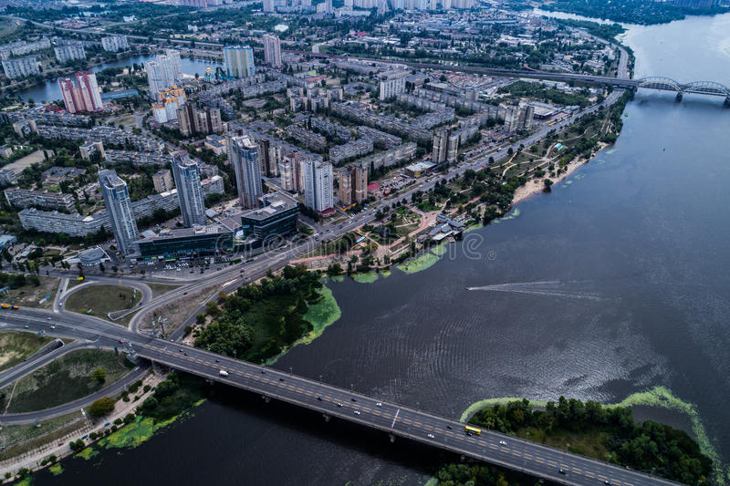 Residential district in a large metropolis with road junctions and houses. Residential district in a large metropolis with road junctions and houses near Dnepr stock photo