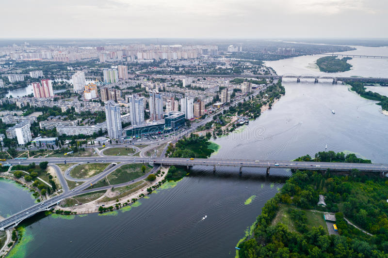 Residential district in a large metropolis with road junctions and houses. Residential district in a large metropolis with road junctions and houses near Dnepr stock image
