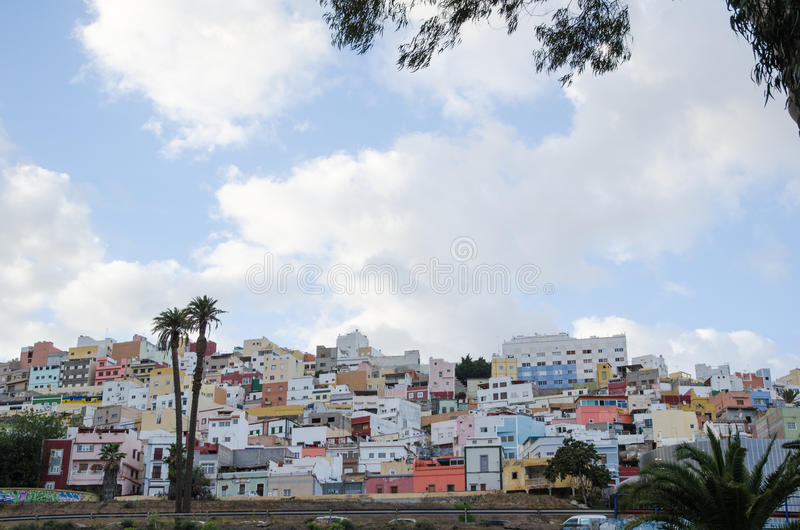 Residential district in Las Palmas, Gran Canaria. LAS PALMAS, GRAN CANARIA, SPAIN, FEBRUARY 18, 2015: Colorful houses in the residential district Vegueta in Las royalty free stock photo