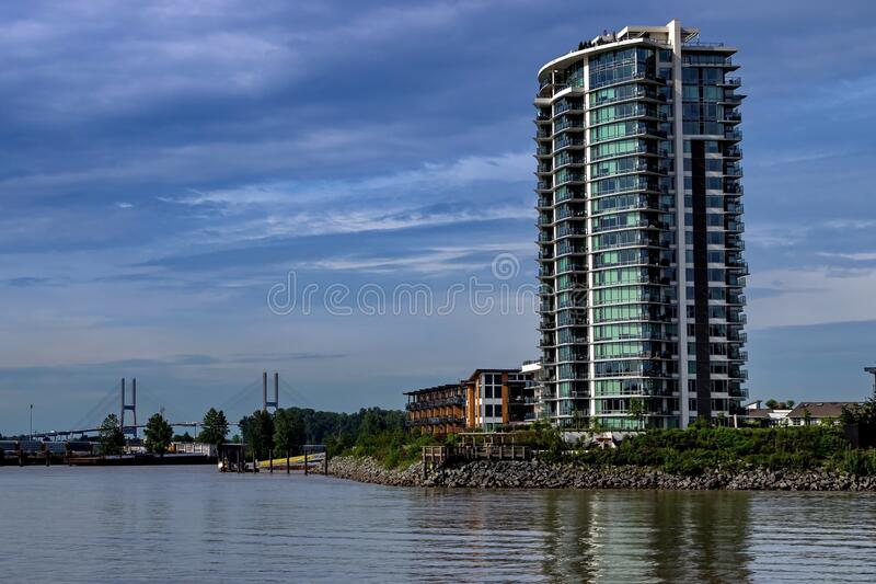 Residential District in New Westminster City. Residential district on the waterfront of Fraser River in New Westminster City royalty free stock photography