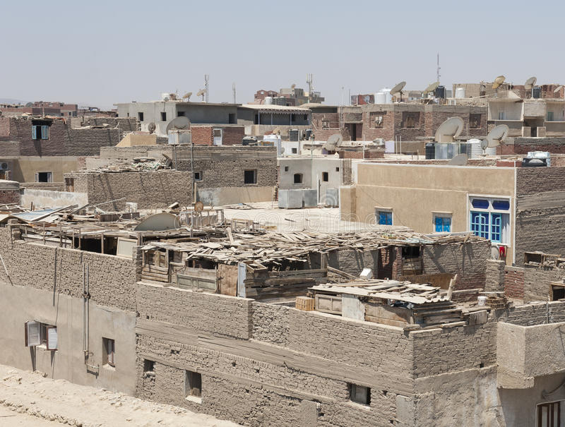 Residential district in poor african town. Residential district in poor egyptian old traditional town stock photography