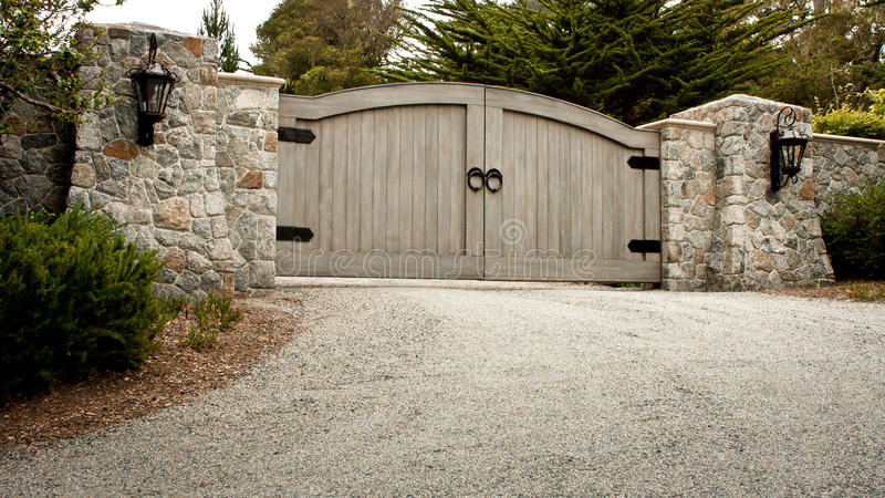 Download Residential Driveway Gate stock image. Image of wall - 26515193