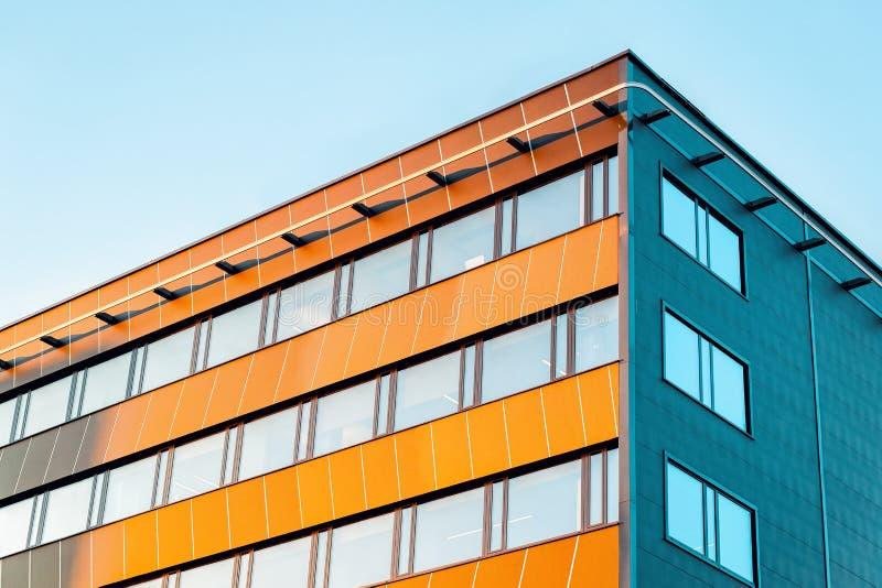 Residential EU apartment house facade with empty copy space. Residential EU apartment house facade with an empty copy space. Blue sky on the background stock photos