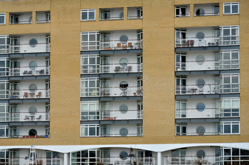 Residential flats with Balconies. In repeating pattern stock photo