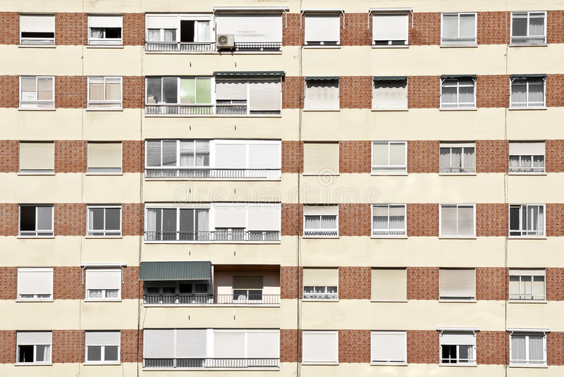 Residential flats. Facade of Residential flats with windows stock photography