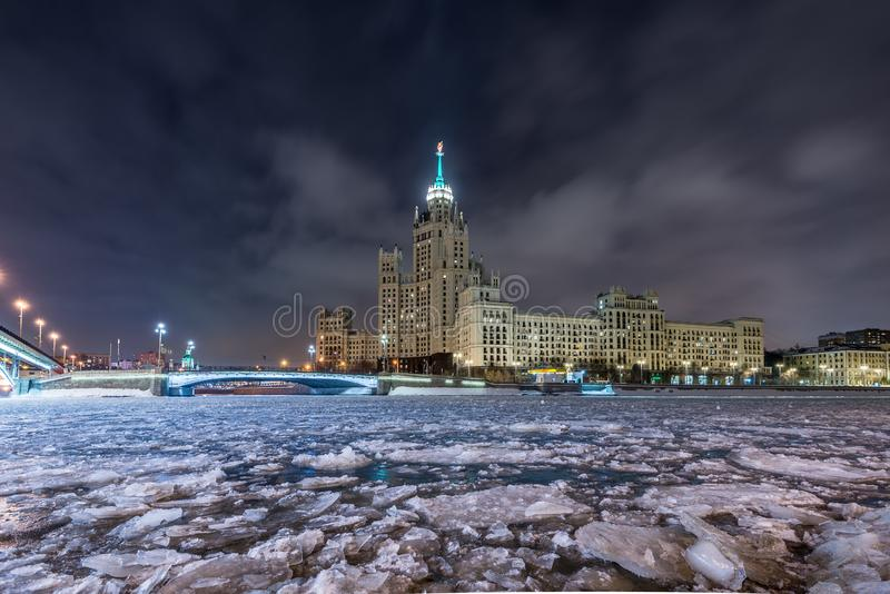 Residential high-rise building of the Stalin era on Kotelnicheskaya Embankment in winter. royalty free stock photos