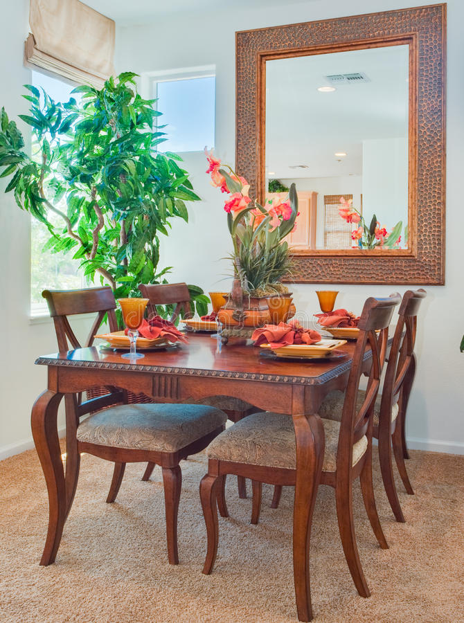 Residential Model Home Dining Room and Table royalty free stock image