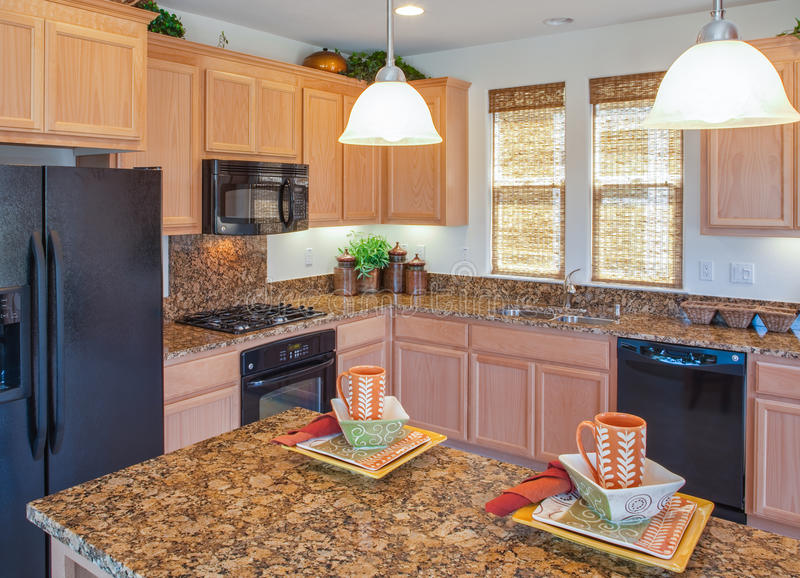 Residential Model Home Kitchen stock photo