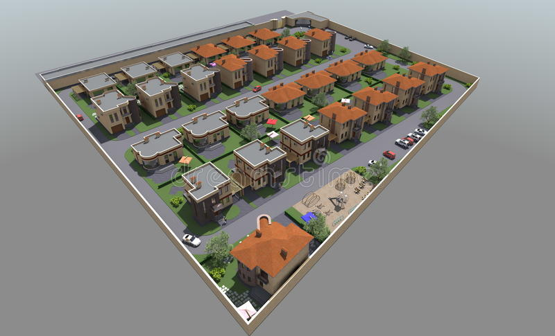 Residential house 3D royalty free illustration
