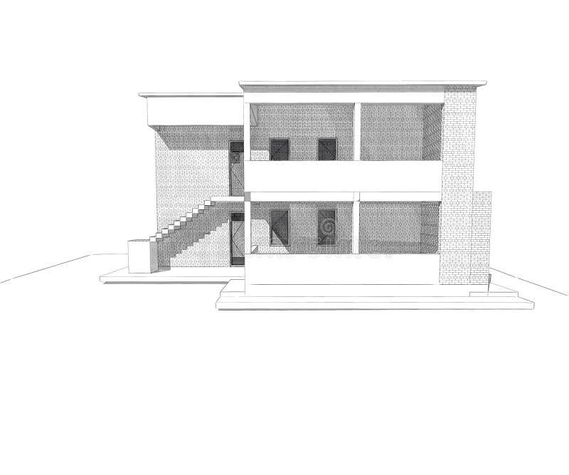 Residential house design stock illustration