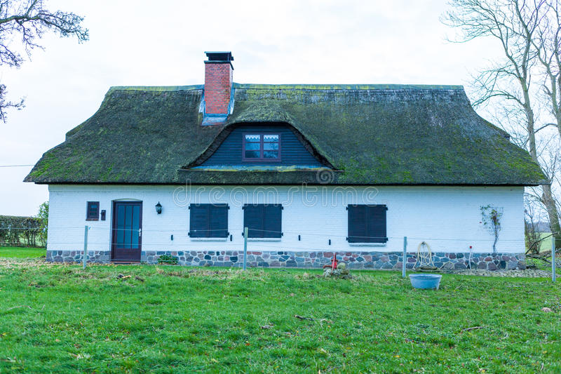 Residential house with a green mossy thatch roof. View of the front facade of a single storey residential house with a green mossy thatch roof looking down the royalty free stock photos
