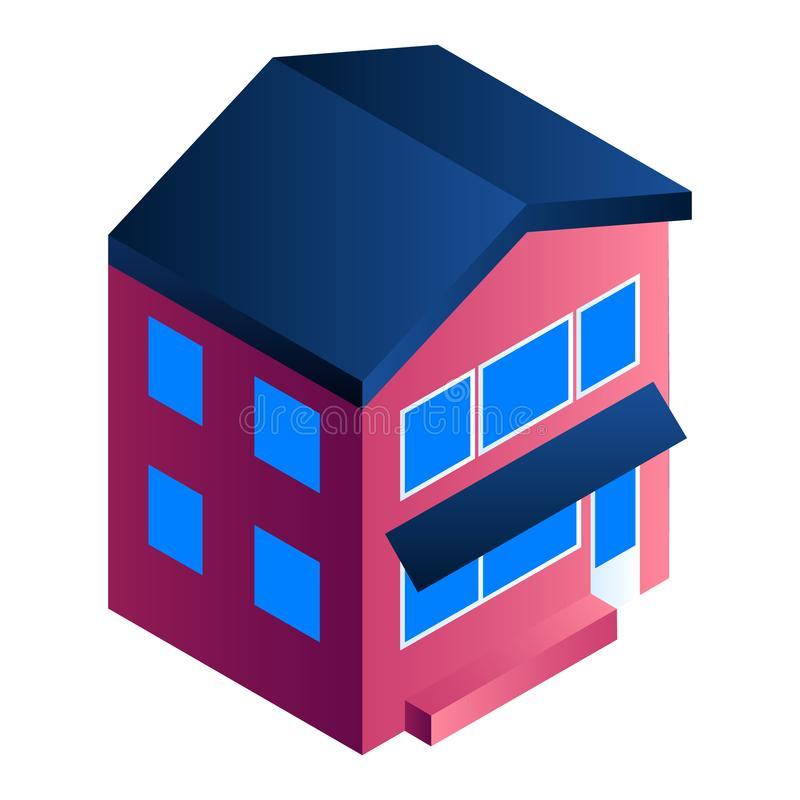 Residential house icon, isometric style stock illustration