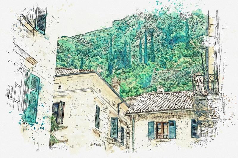 Residential house in Montenegro. Watercolor sketch or illustration of the view of the traditional residential stone house in Montenegro vector illustration