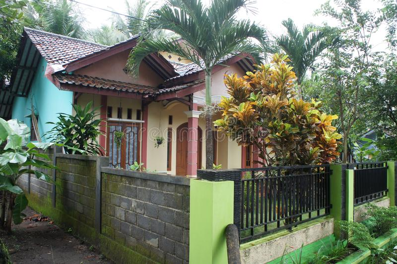 Residential house in a provincial resort town of Pangandaran, Indonesia. On the outskirts of a residential building, facing the road in the tropics on the island stock image