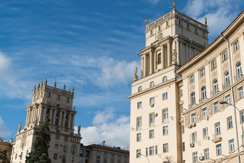 Residential houses Stalinist architecture on Leninsky Prospekt in Moscow, Russia stock photo