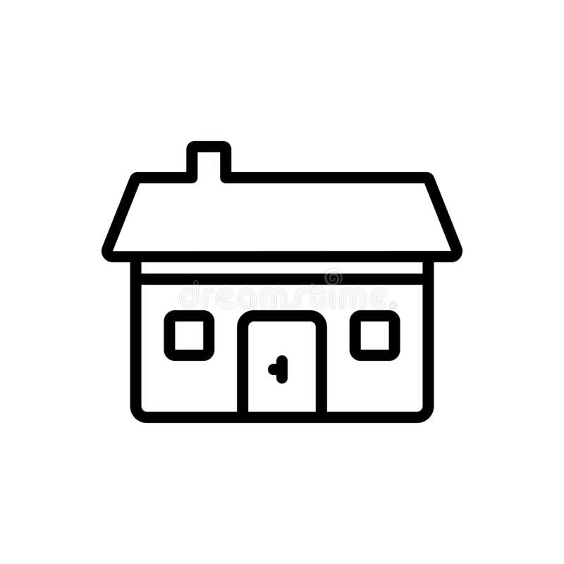Black line icon for Residential, dwelling and abode. Black line icon for Residential, habitation, building, house, construction,  dwelling and abode stock illustration