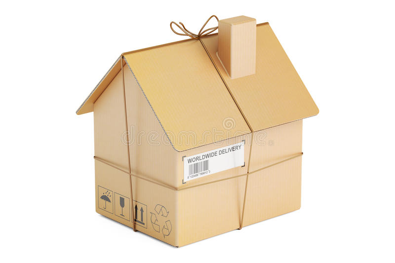 Residential Moving concept, cardboard house parcel, 3D rendering stock illustration