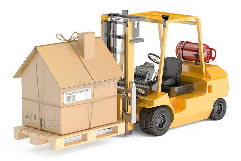 Residential Moving concept. Forklift truck with cardboard house stock illustration