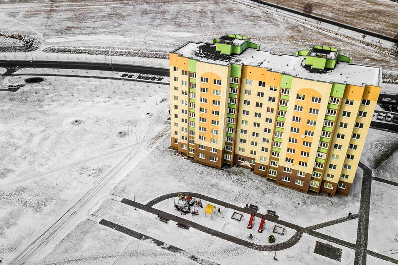 Residential multi-colored houses high-rise buildings. Aerial photography with quadcopter.  royalty free stock image