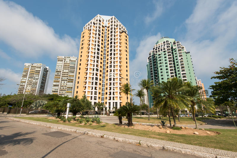 Residential Neighborhood. Residential Area in Barra da Tijuca with Tall Apartment Buildings, Rio de Janeiro City royalty free stock photography