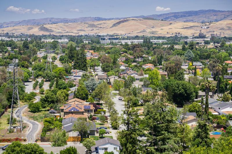 Residential neighborhood in south San Jose, view from Santa Teresa County Park, San Francisco bay area, California royalty free stock image